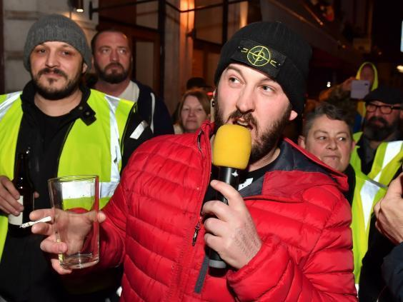 James Goddard speaks to supporters in Holborn on 12 January, 2019 (PA)