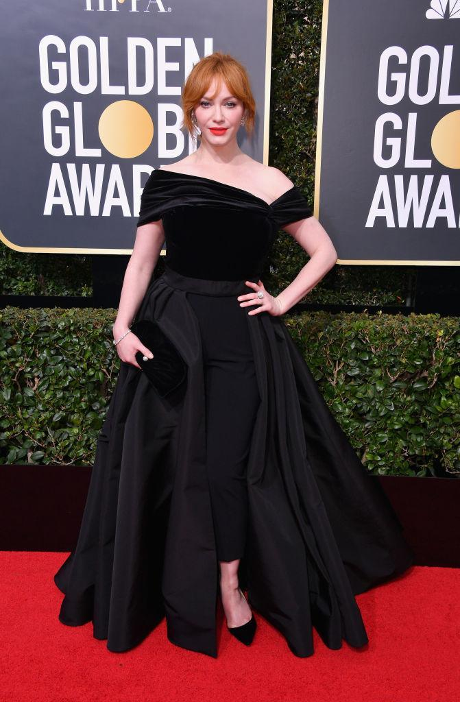 <p>The <em>Mad Men</em> alum, who will soon be seen on NBC's <em>Good Girls</em>, attends the 75th Annual Golden Globe Awards at the Beverly Hilton Hotel in Beverly Hills, Calif., on Jan. 7, 2018. (Photo: Steve Granitz/WireImage) </p>