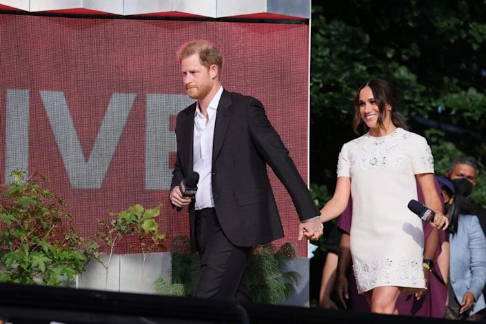 NEW YORK, NEW YORK – SEPTEMBER 25: Prince Harry and Meghan Markle speak onstage during Global Citizen Live, New York on September 25, 2021 in New York City. (Photo by Theo Wargo/Getty Images for Global Citizen)