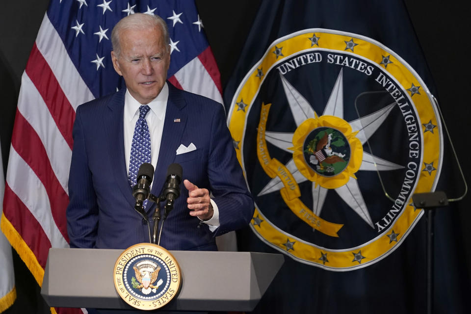 President Joe Biden speaks during a visit to the Office of the Director of National Intelligence in McLean, Va., Tuesday, July 27, 2021. This is Biden's first visit to an agency of the U.S. intelligence community. (AP Photo/Susan Walsh)