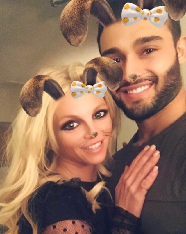 """<p>It's serious! Brit Brit posted this photo with her boyfriend, model Sam Asghari, and she used the L word! """"So in love with this puppy,"""" the singer wrote on Halloween. The couple have been dating since late 2016 and seem to be going strong — so much so that she's got him posing for couple selfies with filters.<br>(Photo: <a href=""""https://www.instagram.com/p/Ba7m64il6r4/?taken-by=britneyspears"""" rel=""""nofollow noopener"""" target=""""_blank"""" data-ylk=""""slk:Britney Spears via Instagram"""" class=""""link rapid-noclick-resp"""">Britney Spears via Instagram</a>) </p>"""