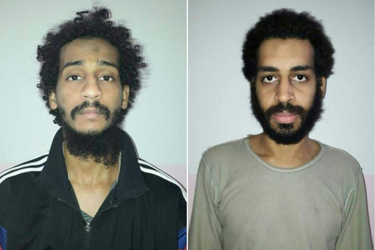 British Islamic State  group fighters El Shafee el-Sheikh (left) and Alexanda Amon Kotey appear in mugshots released by the Syrian Democratic Forces