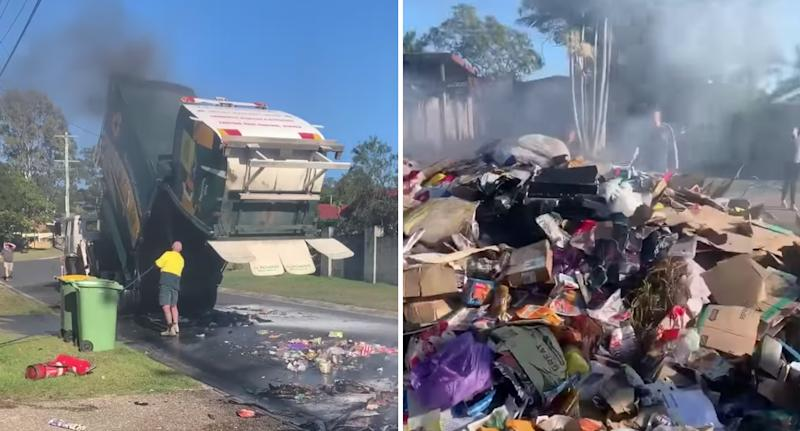 Photo shows a recycling truck and its load spilled onto the ground in Queensland.