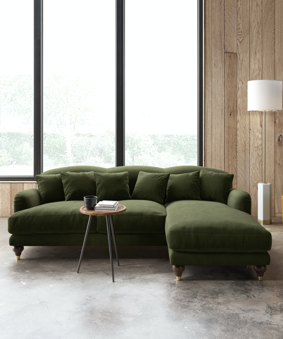 """<p>With such strong ties to nature, green tends to be a calming and relaxing colour, making it the ideal choice for a sofa. Whilst crisp apple green shades sit comfortably in a country cottage setting, forest green creates a moodier and more romantic feel. </p><p>Pictured: <a href=""""https://go.redirectingat.com?id=127X1599956&url=https%3A%2F%2Fwww.swooneditions.com%2Fholtonrcorner&sref=https%3A%2F%2Fwww.housebeautiful.com%2Fuk%2Fdecorate%2Fliving-room%2Fg37418005%2Fmost-popular-sofa-colours%2F"""" rel=""""nofollow noopener"""" target=""""_blank"""" data-ylk=""""slk:Holton Sofa at Swoon"""" class=""""link rapid-noclick-resp"""">Holton Sofa at Swoon</a></p>"""