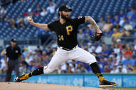 Pittsburgh Pirates starting pitcher Trevor Williams delivers during the first inning of a baseball game against the Chicago Cubs in Pittsburgh, Monday, July 1, 2019. (AP Photo/Gene J. Puskar)