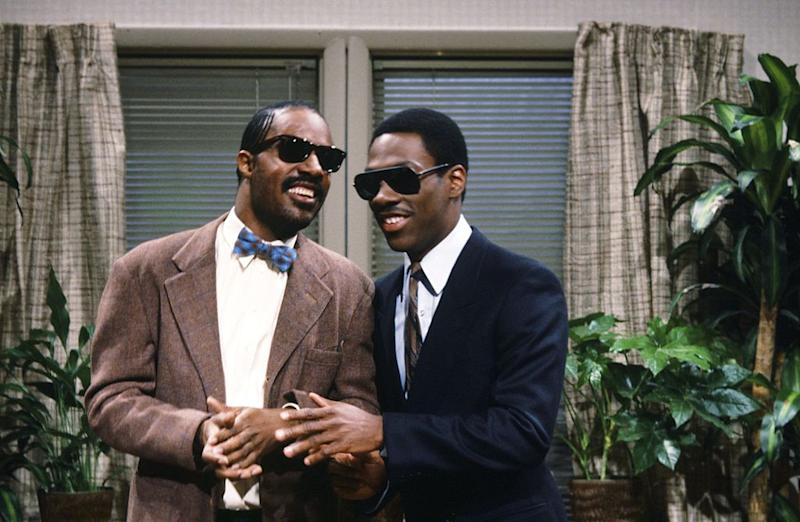 "Stevie Wonder and Eddie Murphy appear in a sketch on the May 7, 1983, episode of ""Saturday Night Live."" (Photo: Fred Hermansky/NBC/NBCU Photo Bank)"