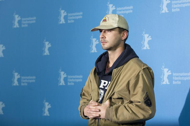 Actor Shia LaBeouf poses for photographers at the photo call for the film Nymphomaniac at the International Film Festival Berlinale in Berlin, Sunday, Feb. 9, 2014. (AP Photo/Axel Schmidt)