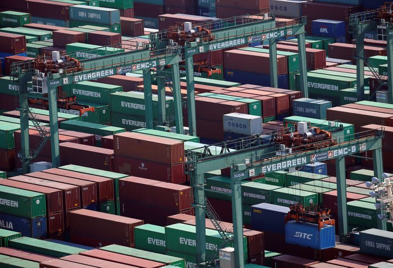 Shipping containers are seen at a port in Tokyo, Japan