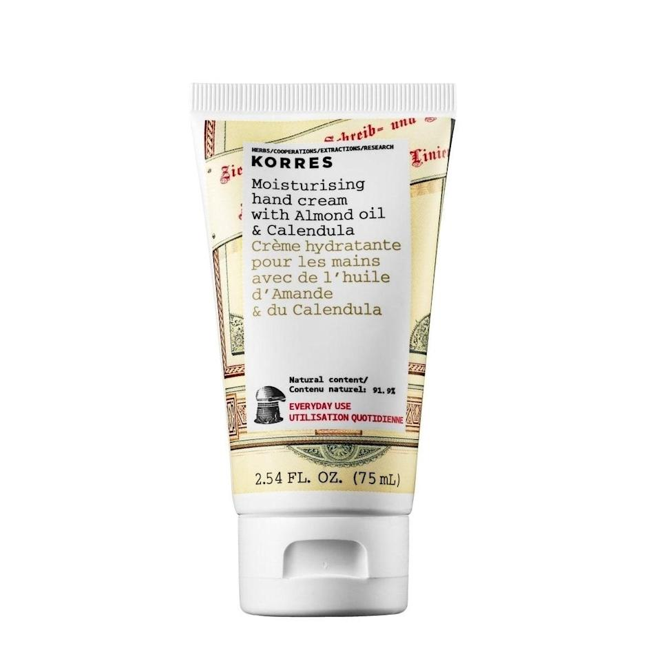 """I am an unapologetic hand cream hoarder—I absolutely <em>hate</em> having dry hands—and I've tried them all. Currently, my go-to is Korres. All its hand creams absorb quickly and leave my hands feeling moisturized for hours (a little bit goes a long a way). But this one is particularly great since it has antioxidant-rich calendula. <em>—Azadeh Valanejad, contributor</em> $14, Korres. <a href=""""https://www.korresusa.com/bath-and-body/apothecary/almond-oil-calendula-hand-cream"""" rel=""""nofollow noopener"""" target=""""_blank"""" data-ylk=""""slk:Get it now!"""" class=""""link rapid-noclick-resp"""">Get it now!</a>"""