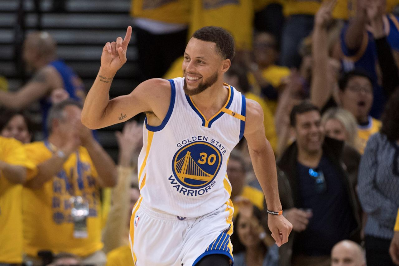 <p>FILE PHOTO: Golden State Warriors guard Stephen Curry (30) celebrates against the Utah Jazz during the fourth quarter in game two of the second round of the 2017 NBA Playoffs at Oracle Arena in Oakland, California, U.S. May 4, 2017. Mandatory Credit: Kyle Terada-USA TODAY Sports/File Photo </p>