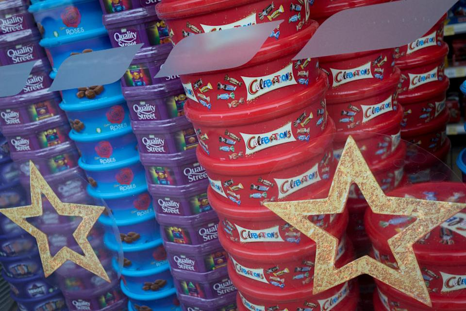 Christmas selection boxes and mince pies have been spotted on supermarket shelves already. (Getty Images)