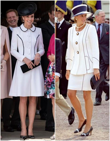 The Duchess of Cambridge appeared to be channeling her late mother-in-law at the Order of the Garter ceremony on Monday.
