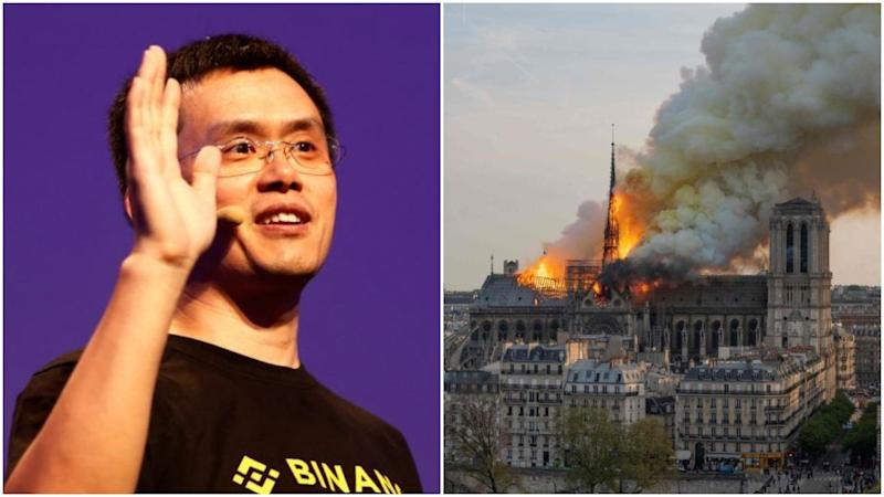 Binance, the world's largest bitcoin exchange, wants to rebuild Notre Dame Cathedral and is calling on the crypto community to help with donations. | Source: Reuters/AFP. Image edited by CCN.