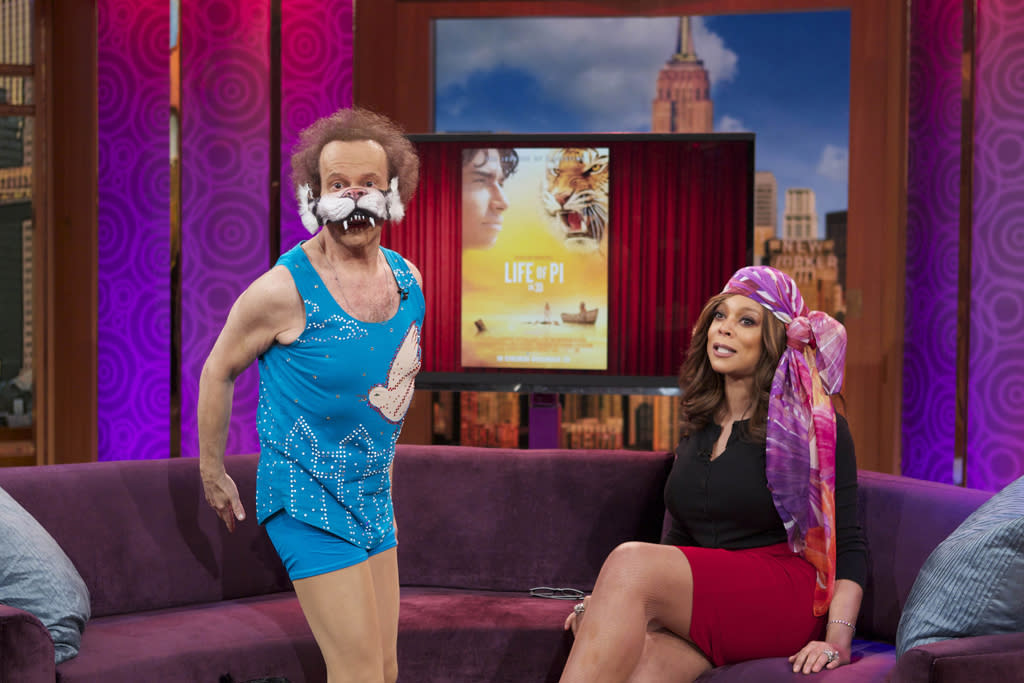 New York, NY - 02/06/2013 - The always outrageous RICHARD SIMMONS joins WENDY WILLIAMS for an entertaining Oscar-themed installment of Hairpiece Theatre on THE WENDY WILLIAMS SHOW. The Wendy Williams Show airs in national syndication and in 52 countries.