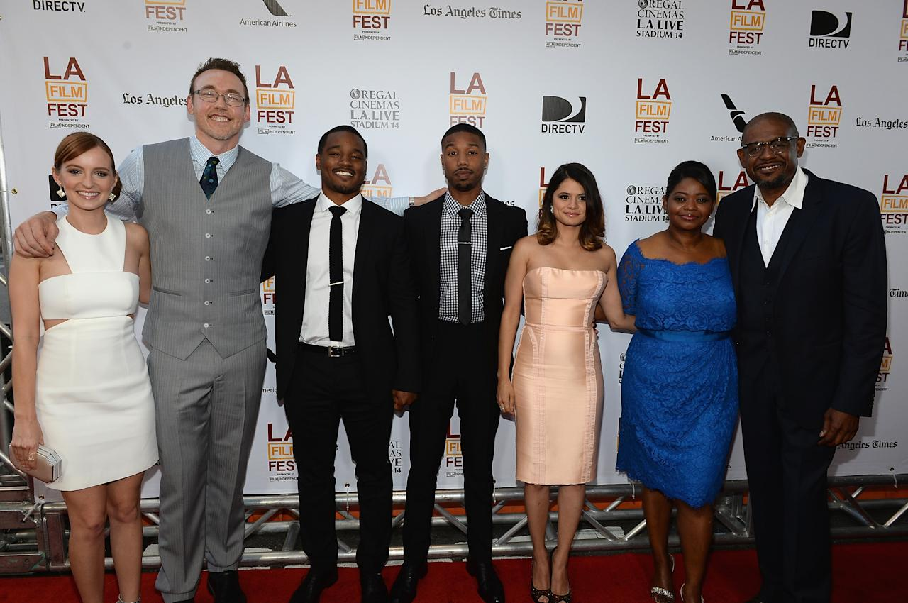 """LOS ANGELES, CA - JUNE 17: (L-R) The Cast of Fruitvale Station"""" Ahna O'Reilly, Kevin Durand, Ryan Coogler, Michael B. Jordan, Melonie Diaz, Octavia Spencer and Forest Whitaker arrive at the premiere of The Weinstein Company's """"Fruitvale Station"""" at Regal Cinemas L.A. Live on June 17, 2013 in Los Angeles, California. (Photo by Michael Buckner/Getty Images for The Weinstein Company)"""