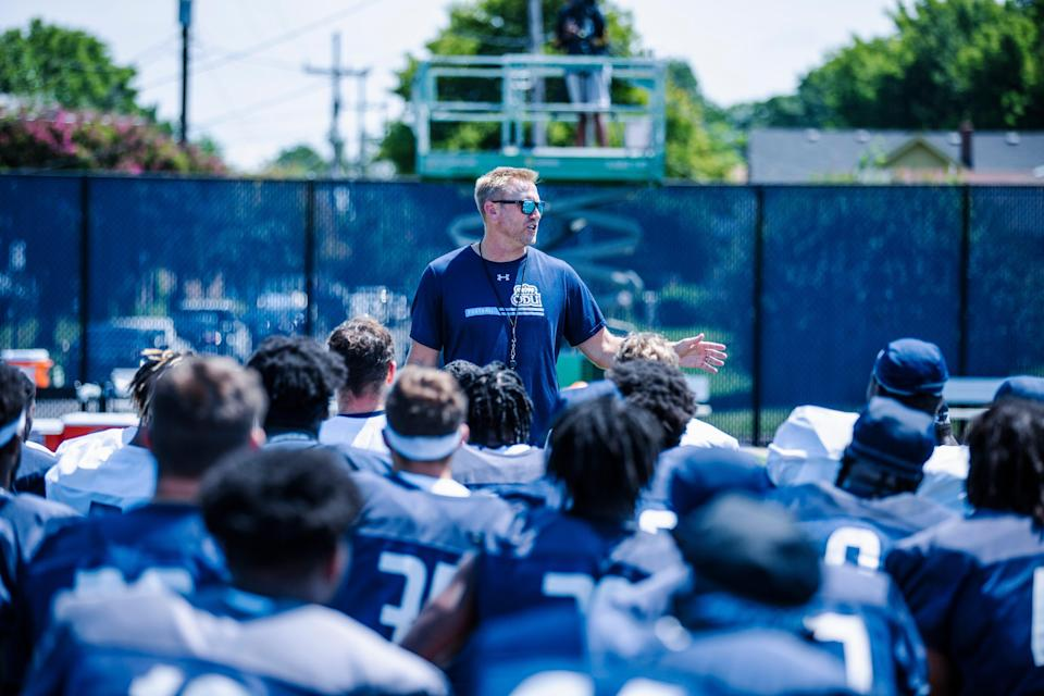 Ricky Rahne will coach his first game for Old Dominion on Friday night, 21 months after he took the job.