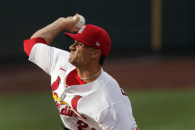 St. Louis Cardinals pitcher Jack Flaherty throws during an intrasquad practice baseball game at Busch Stadium Thursday, July 9, 2020, in St. Louis. (AP Photo/Jeff Roberson)