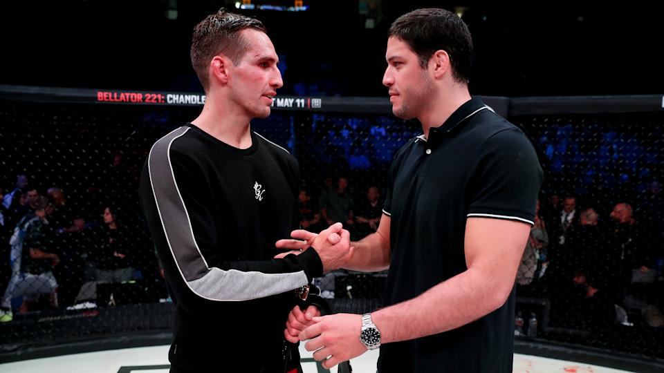 Rory MacDonald (L) and Neiman Gracie shake hands after MacDonald defeated Jon Fitch (not pictured) at Bellator 220 on April 27 in San Jose, California. (Bellator)