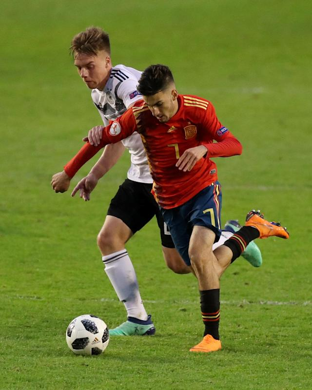 Soccer Football - UEFA European Under-17 Championship - Group D - Spain vs Germany - The Banks's Stadium, Walsall, Britain - May 11, 2018 Spain's Alejandro Baena Rodriguez in action with Germany's Lenny Borges Action Images via Reuters/Peter Cziborra