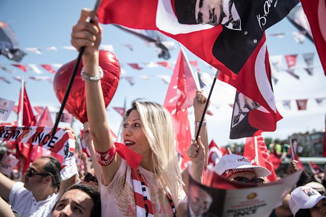 Supporters of CHP Party presidential candidate Muharrem Ince wave flags and chant slogans before a campaign rally in Uskudar on Saturday in Istanbul, Turkey. Ince and members of the CHP party campaigned across Istanbul ahead of the June 24, 2018, parliamentary and presidential elections.  (Photo: Chris McGrath/Getty Images)