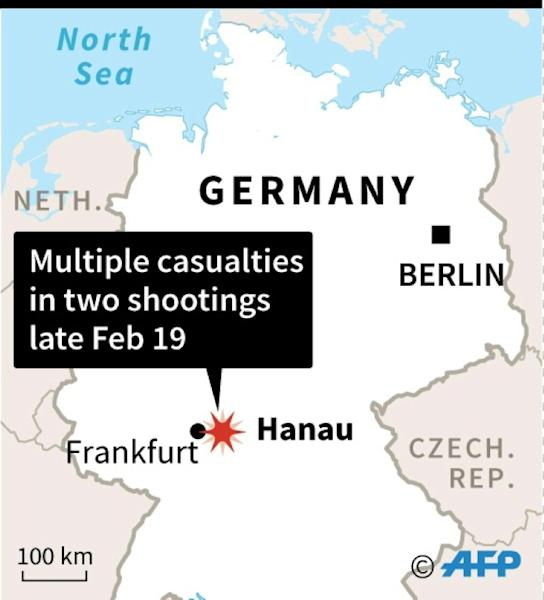 Map of Germany locating Hanau near Frankfurt where at least eight people were killed in two shootings late Wednesday. (AFP Photo/Jonathan STOREY)