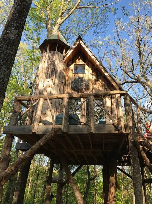 """<p>What looks like a cuckoo clock perched in wooded Missouri wine country is actually a charming, off-the-grid treehouse home where guests can enjoy an upscale camping experience. Wineries, distilleries, and breweries are all within reach for daytime activities.</p><p><a class=""""link rapid-noclick-resp"""" href=""""https://www.airbnb.com/rooms/17572361"""" rel=""""nofollow noopener"""" target=""""_blank"""" data-ylk=""""slk:BOOK NOW"""">BOOK NOW</a> <strong><em>Treehouse at The Hermitage</em></strong><br></p>"""