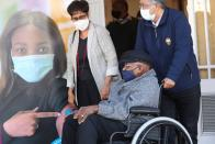 Archbishop Desmond Tutu leaves after receiving his coronavirus (COVID-19) vaccination in Cape Town