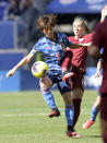 Japan forward Mana Iwabuchi (8) controls the ball as England midfielder Jordan Nobbs, right, defends during the first half of a SheBelieves Cup soccer match Sunday, March 8, 2020, in Harrison, N.J. (AP Photo/Bill Kostroun)