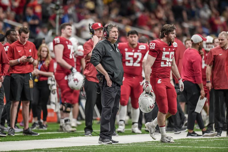 SAN ANTONIO, TX - DECEMBER 28: Washington State Cougars head coach Mike Leach looks on during the Alamo Bowl between the Washington State Cougars and Iowa State Cyclones on December 28, 2018 at the Alamodome in San Antonio, Texas. (Photo by Daniel Dunn/Icon Sportswire via Getty Images)