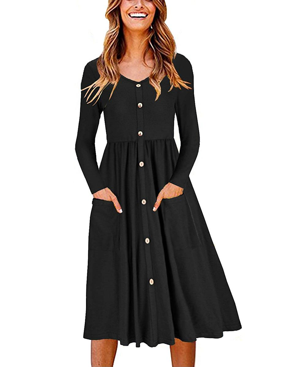 "<h2>Amazon Button-Down Dress With Pockets</h2><br>Amazon wasn't all beauty buys this past month, we also saw an <a href=""https://www.refinery29.com/en-us/best-fall-dresses-amazon"" rel=""nofollow noopener"" target=""_blank"" data-ylk=""slk:uptick in affordable fashion staples too"" class=""link rapid-noclick-resp"">uptick in affordable fashion staples too</a> — with this long-sleeved, button-down pocket dress clocking in at the tops of readers virtual shopping carts as their fall-favorite style. As one approving reviewer croons, ""This is SO CUTE. The length is perfect, the buttons are perfect, it's flattering, it's a nice substantial material without being heavy, IT HAS POCKETS...seriously, buy this dress!""<br><br><em>Shop <strong><a href=""https://amzn.to/3jd0gZN"" rel=""nofollow noopener"" target=""_blank"" data-ylk=""slk:Amazon"" class=""link rapid-noclick-resp"">Amazon</a></strong></em><br><br><strong>Ouges</strong> Long-Sleeve Button-Front Pocket Dress, $, available at <a href=""https://amzn.to/32uerUp"" rel=""nofollow noopener"" target=""_blank"" data-ylk=""slk:Amazon"" class=""link rapid-noclick-resp"">Amazon</a>"