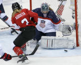 USA goalkeeper Jessie Vetter (31) blocks Meghan Agosta-Marciano of Canada (2) shot on the goal during the second period of the women's gold medal ice hockey game at the 2014 Winter Olympics, Thursday, Feb. 20, 2014, in Sochi, Russia. (AP Photo/Petr David Josek)