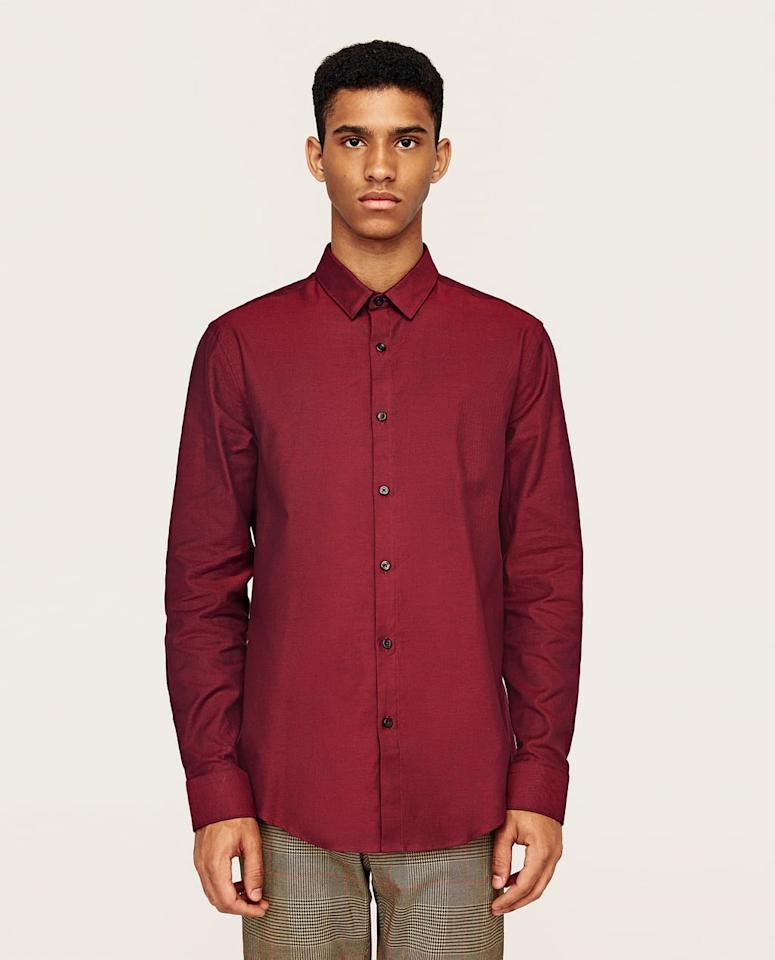 <p>Here's a red plain shirt from Zara if you'd rather not stand out at family gatherings. (Photo: Zara) </p>