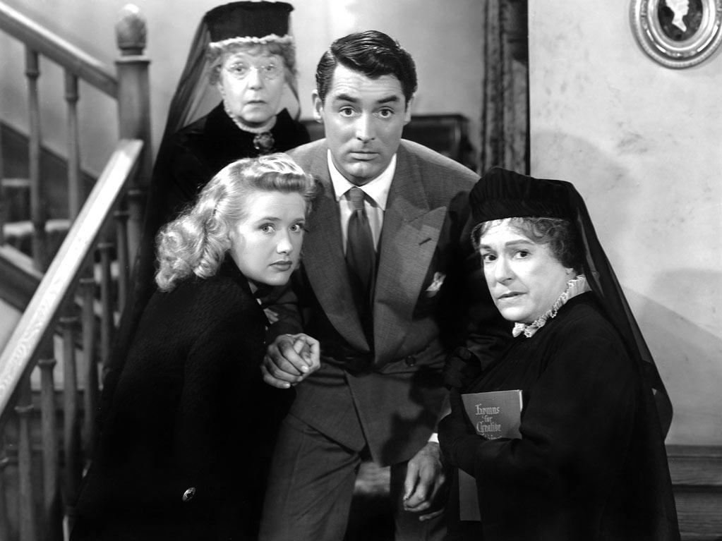 "<a href=""http://movies.yahoo.com/movie/arsenic-and-old-lace/"">ARSENIC AND OLD LACE</a> (1944) <br>Directed by: Frank Capra <br>Starring: Cary Grant and Priscilla Lane<br>"