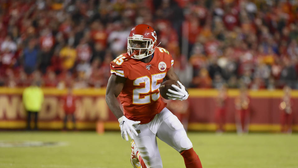 Kansas City Chiefs running back LeSean McCoy (25) runs with the ball during the first half of an NFL football game against the Green Bay Packers in Kansas City, Mo., Sunday, Oct. 27, 2019. (AP Photo/Ed Zurga)