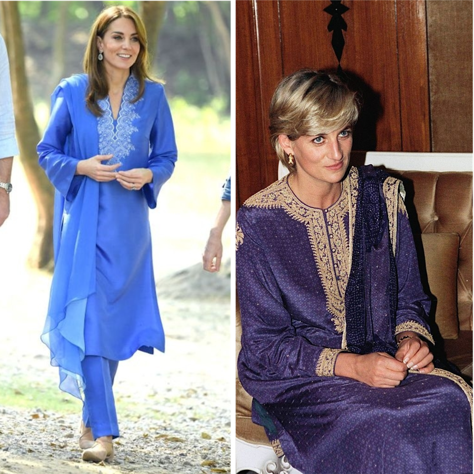 "<p>Middleton followed in Spencer's footsteps in <a href=""https://www.elle.com/uk/fashion/a29456870/kate-middleton-pakistan-tour-style/"" rel=""nofollow noopener"" target=""_blank"" data-ylk=""slk:Pakistan"" class=""link rapid-noclick-resp"">Pakistan </a>over thirty years later. Both women wore traditional shalwar kameez in bold colours and bright embroidery.</p>"