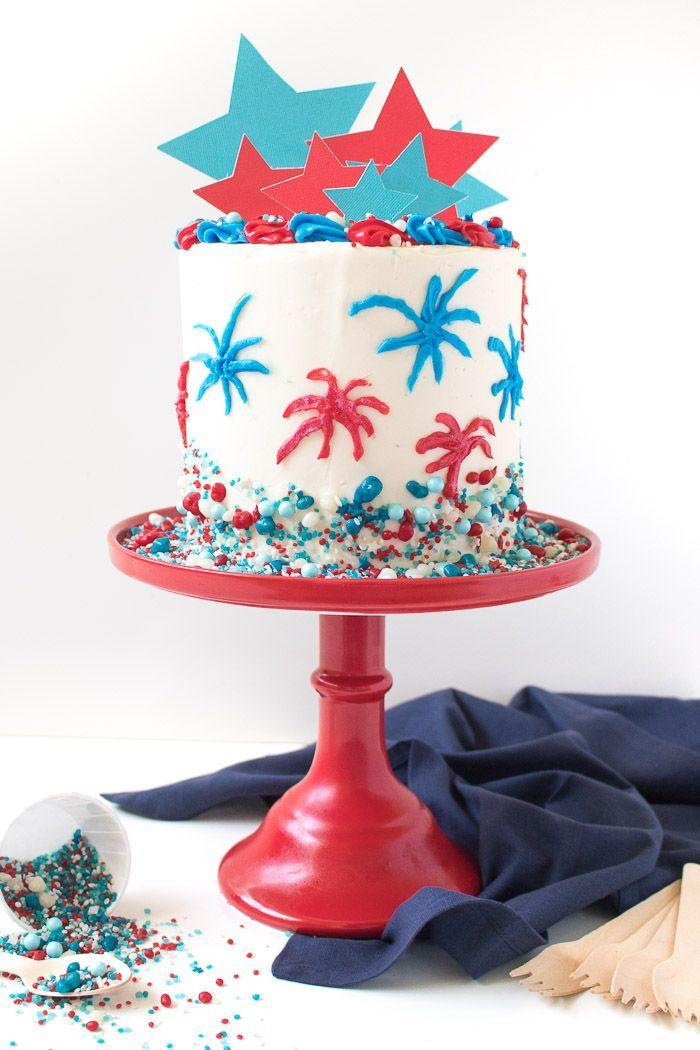"""<p>There's a colorful surprise waiting inside this delicious fire-cracker inspired cake.</p><p><em><a href=""""https://www.clubcrafted.com/red-white-blue-firework-cake-4th-of-july/"""" rel=""""nofollow noopener"""" target=""""_blank"""" data-ylk=""""slk:Get the recipe from Club Crafted »"""" class=""""link rapid-noclick-resp"""">Get the recipe from Club Crafted »</a></em></p>"""