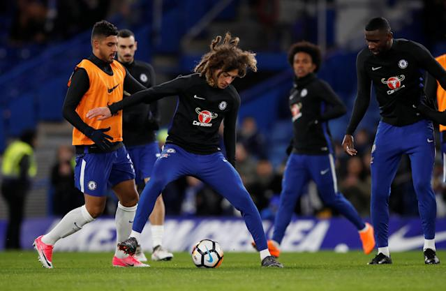 Soccer Football - FA Cup Fifth Round - Chelsea vs Hull City - Stamford Bridge, London, Britain - February 16, 2018 Chelsea's Emerson Palmieri warms up with Ethan Ampadu REUTERS/Eddie Keogh
