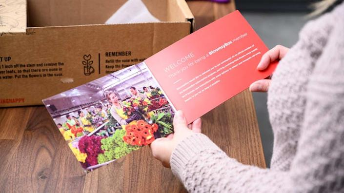 The BloomsyBox came with an informational card and booklet, as well as instructions on the side of the box.