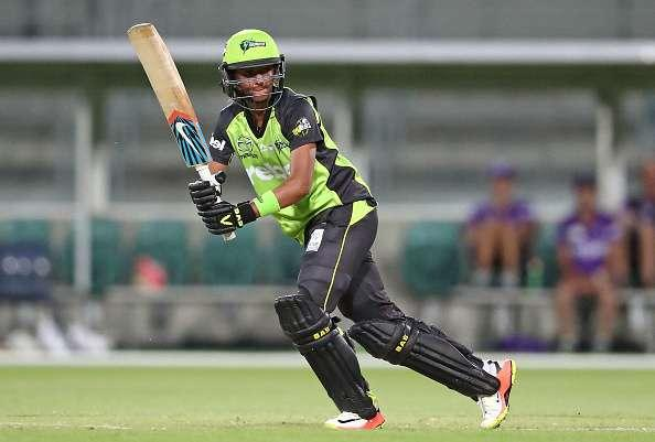 LAUNCESTON, AUSTRALIA - JANUARY 05: Harmanpreet Kaur of the Thunder bats during the Women's Big Bash League match between the Sydney Thunder and the Hobart Hurricanes at Aurora Stadium on January 5, 2017 in Launceston, Australia. (Photo by Scott Barbour/Getty Images)