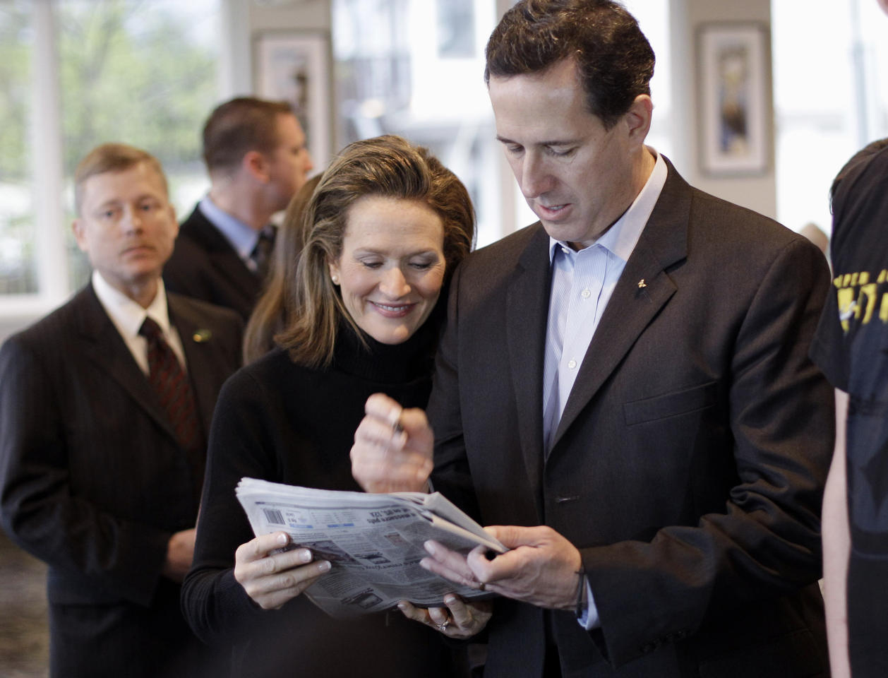 Republican presidential candidate, former Pennsylvania Sen. Rick Santorum, and his wife Karen, make a campaign stop at McElroy's On the Bayou, Monday, March 12, 2012, in Ocean Springs, Miss. (AP Photo/Eric Gay)