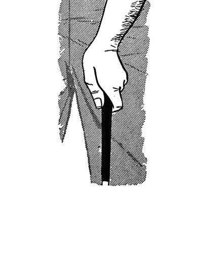 "<p>Once the left-hand grip is taken properly, it's simple to add the right hand. So be sure to take more time with the left.</p> <p>The shaft should cross the left palm diagonally from the bottom (or outer) joint of the forefinger to just below the little finger. This position produces a ""strong"" left hand, in which the ""V"" formed by the forefinger and thumb points to the right shoulder. Fold your left hand over the club, and make sure the thumb rests on the right-top part of the shaft.</p> <p><strong>WHAT I THINK TODAY</strong><br> For the beginner, a strong left-hand grip works best. You can always weaken it later to lessen a hook; that's what I did.</p>"