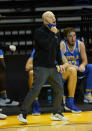 UCLA head coach Mick Cronin yells to his players during the first half against Stanford in an NCAA college basketball game in Santa Cruz, Calif., Saturday, Jan. 23, 2021. (AP Photo/Tony Avelar)
