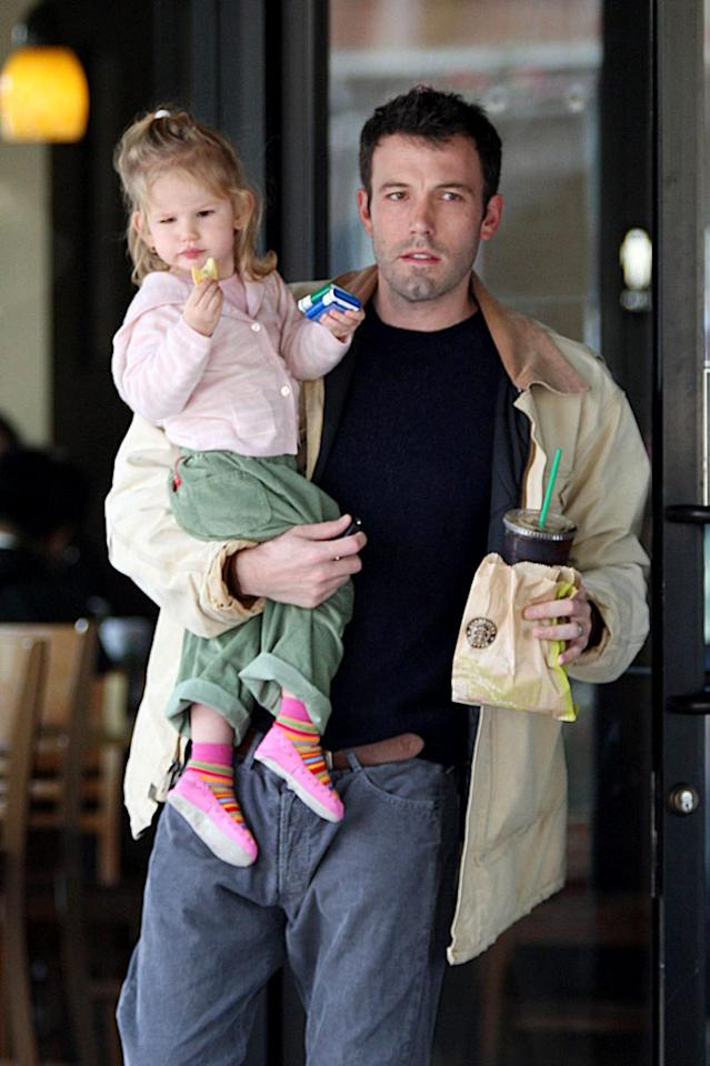 """It looks like both Ben Affleck and daughter Violet have their hands full. Isn't she the spitting image of her mom, Jennifer Garner? Kevin Perkins/Louise Barnsley/<a href=""""http://www.pacificcoastnews.com/"""" target=""""new"""">PacificCoastNews.com</a> - February 2, 2008"""