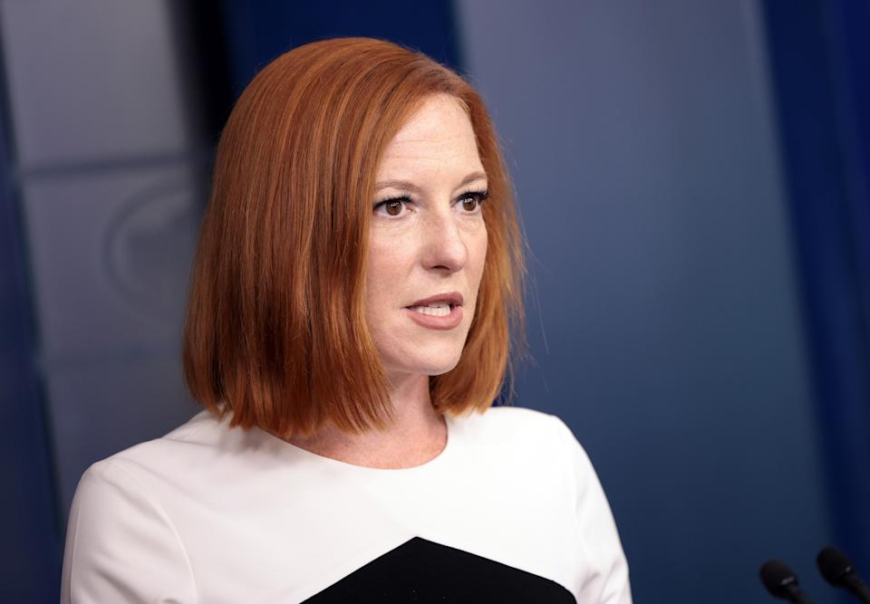 The White House press secretary Jen Psaki, addresses a press briefing at the White House on Wednesday.