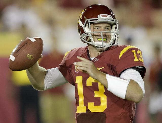 Southern California quarterback Max Wittek throws against Washington State during the second half of an NCAA college football game in Los Angeles, Saturday, Sept. 7, 2013. (AP Photo/Chris Carlson)