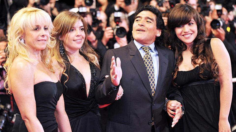 Diego Maradona, pictured here with ex-wife Claudia and daughters Dalma and Giannina in 2008.