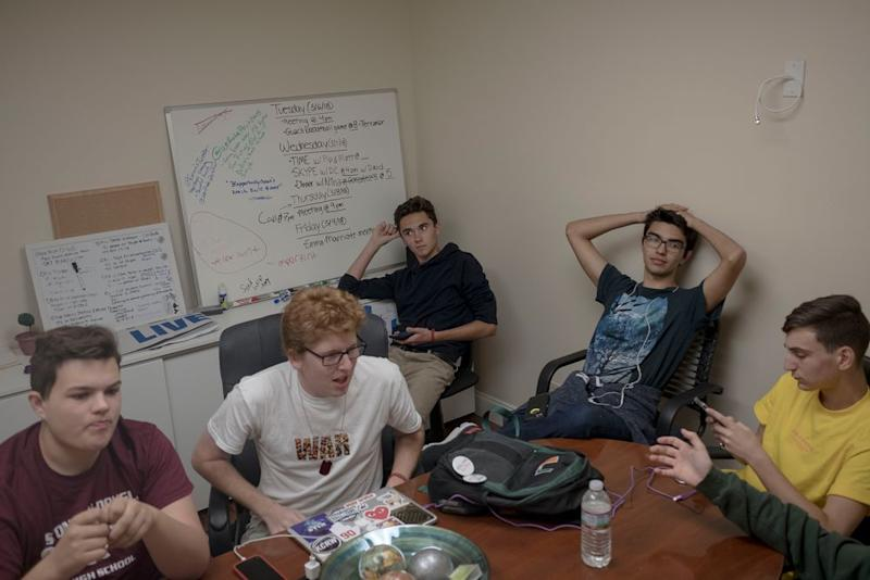 John Barnitt, Matt Deitsch, David Hogg, Diego Pfeiffer and Adam Alhanti meet at the #NeverAgain office in Coral Springs, Fla.