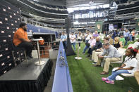 Texas defensive lineman Keondre Coburm listens to a question during the NCAA college football Big 12 media days Thursday, July 15, 2021, in Arlington, Texas. (AP Photo/LM Otero)