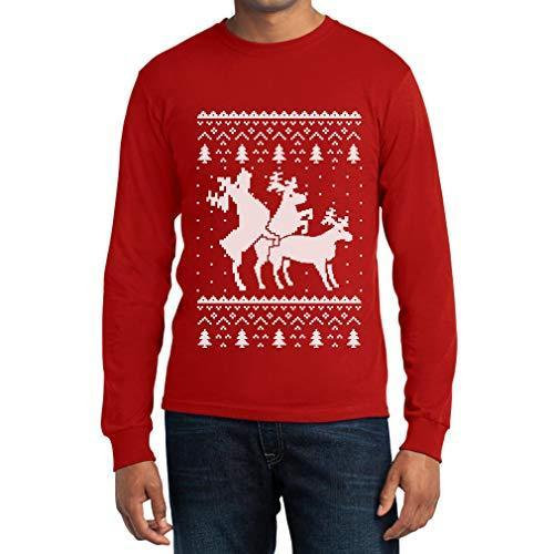 Shirtgeil Christmas Ugly Sweater Renne Natale Threesome Sex Maglia Uomo Manica Lunga Large Rosso