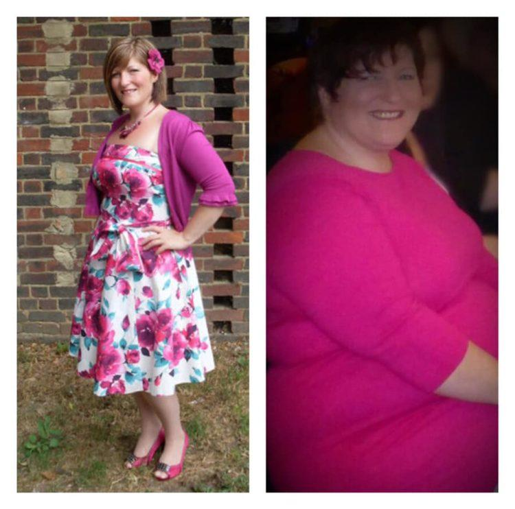 woman wearing pink before and after photo chronic illness